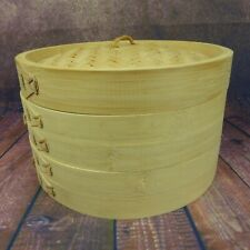 2 Tier Steam Rack BAMBOO STEAMER Vegetable Dumpling Bun Steaming Food Cooker