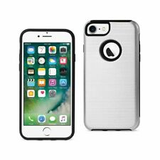 Reiko iPhone 7 Hybrid Dual - Layer Metal Brushed Texture Case In Silver