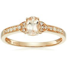 Pinctore 10k Rose Gold Morganite Oval, Diamond Solitaire Stackable Ring, Size 7