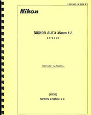 Nikon Nikkor Auto 35mm F2 Lens Service & Repair Manual: 1973