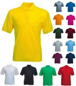 Mens Classic Polo T Shirt Size XS to 4XL LEISURE SPORT WORK CASUAL - 100% PLAIN