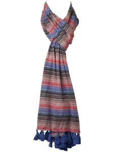 Linea Weekend Blue Red Brown Multi Coloured Tasseled Scarf Fast Free UK Shipping