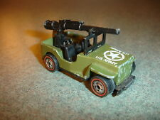 1970 Old Vtg Antique Diecast Hot Wheels Redline US Army Jeep With Gun Toy