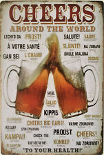 CHEERS around the world Metal plaque Bar pub cafe beer diner man cave Tin sign