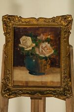 Antique 19th Century 1800s Oil Painting On Wood Still Life Roses Old Art Framed