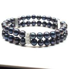 2018 new gift AAA 7-8mm black freshwater akoya pearl bracelets bangle 7.5""