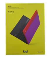 Logitech Blok UltraThin Keyboard Cover Stand Case For iPad Air 2 Red Violet New