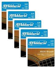 LOT OF 5 - D'Addario 80/20 Bronze Acoustic Guitar Strings, Light, 12-53, EJ11 ^5