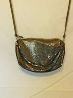 Whiting and Davis Bronze Metal Mesh Cross Body Evening Bag Party Purse Glittery