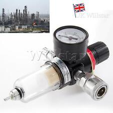 "UK 1/4"" BSP Air Compressor Moisture Trap Oil Water Filter Regulator Lubricator"