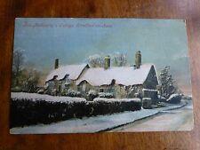 R102 Ann Hathaways's Cottage - Stratford on Avon in the Snow Postcard