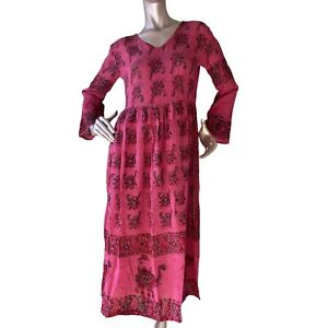 Brown Rayon Buttoned Dress MLXL Long Ethnic Gown Embroidered India Maxi Dress 90/'s Boho Dress Cord Embroidery Crushed Velvet Yoke