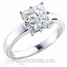 Diamond Engagement Square Ring 0.50ct Princess Cut F VS set in 18ct White Gold