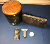 Vintage Lot Tobacciana Ribbed Tobacco Jar Yello-Bole Leather Pouch Cigar Cutter
