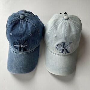 NWT Calvin Klein Men's Embroidered CK Logo Baseball Hat Denim Monogram Logo Cap