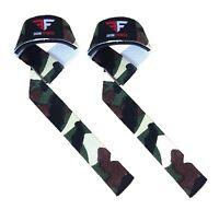 Ekon Weight Lifting Bar Straps Deadlift Gym Wrist Wrap Support Camo Green Black