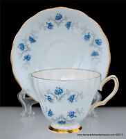 Colclough Bone China Footed Cup & Saucer Set England Gilded Blue Gray Flowers