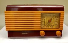 "PLUM & BUTTERSCOTCH Garod ""Drop Handle"" Catalin Bakelite tube radio-Working!!"