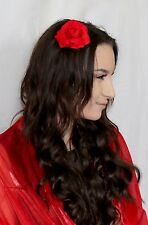 Red Rose Hair Flower on a Hair clip Proms Weddings Races Dressing Up Costume