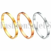 Fashion Women's Stainless Steel Love Heart Zirconia Bangle Bracelet Jewelry Gift