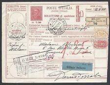 STORIA POSTALE REGNO 1929 Pacchi Postali 7,5L da Milano a Ginevra (E7)