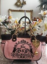 Juicy Couture Light Pink Velour Gold Chain Small Satchel EUC! MSRP $186