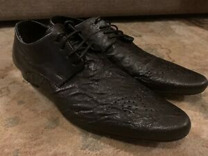 RIVER ISLAND MENS BLACK LEATHER SHOES SIZE UK 9 RRP £40