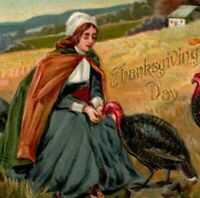c1908 Tuck Thanksgiving Day Postcard Woman Fattening Up Turkeys No.161 A25