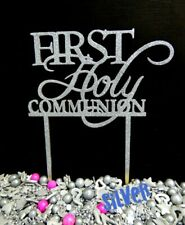 SILVER GLITTER 1ST HOLY COMMUNION OR CROSS TIMBER CAKE TOPPER SIGN DECORATION