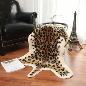 Faux Fur Leopard Print Animal Rug Bedroom Carpet Door Rug Non-Slip Mat 31 x 41''