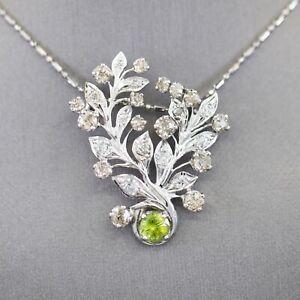 0.68ct Vintage Sphene and 2.00ctw Old European Cut Diamond Necklace in 14k WG