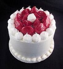 FAKE FOOD -  8 INCH  WHITE STRAWBERRY FAKE CAKE
