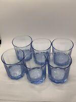 Anchor Hocking Essex Denim Blue Rocks Or Old Fashioned 10oz  Glass Set Of 6.