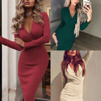 Womens V Neck Wrap Bodycon Midi Dress Long Sleeve Clubwear Party Cocktail Dr ^r