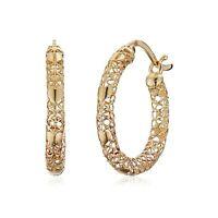Eternity Gold Mesh & Heart Hoop Earrings in 10K Yellow Gold