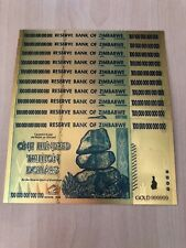 10× Zimbabwe 100 Trillion Dollar Novelty Gold Foil Bill Banknote Money Set