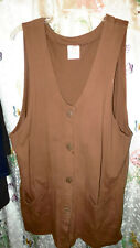 Hot Cotton Brown Button Up Vest with pockets, Size L