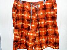 Columbia Mens Size 36 Swim Shorts Omni Shade Trunks Orange White Side Pocket