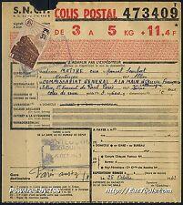 FRANCE COLIS POSTAUX N°204 SUR BULLETIN D'EXPEDITION DU 25/10/1943