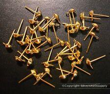 40pcs Ball post dangle earrings yellow gold plated 4mm 1/2 ball no backs fpe115