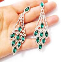 Chandelier Earrings Rhinestone Green Crystal 3.5 inch