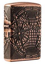 Zippo 29853, Antique Copper Armor Lighter, World Map, 360- Degree Multi-Cut