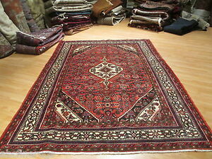 ESTATE Circa 1960 7x10 Tribal Vegetable Dye Handmade-knotted Wool Rug 582272