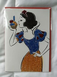 Papyrus Jeweled Snow White With Cupcake Happy Birthday Card