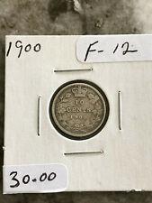 10 CENTS 1900 CANADA, QUEEN VICTORIA, .925 SILVER, BEAUTIFUL COIN GRADE F-12