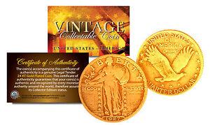 Original 1916-1930 STANDING LIBERTY Genuine SILVER Quarter U.S. Coin 24K GOLD