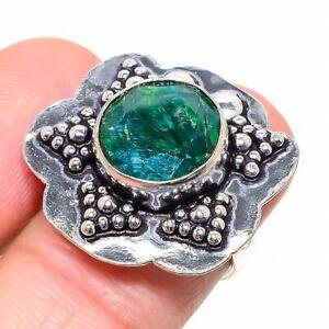 Skota Emerald Gemstone Handmade 925 Sterling Silver Jewelry Ring Size 7 m367