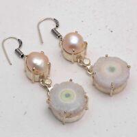 Solar Quartz,Biwa Pearl Ethnic Jewelry Handmade Earrings ME-2257