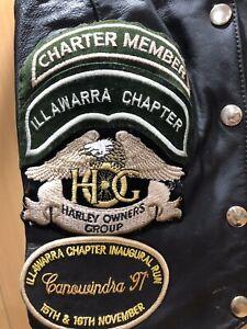 Ladies Of Harley Davidson Vintage Leather Vest Australian Illawarra Chapter HOG