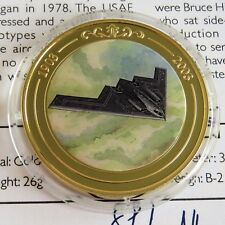 B-2 STEALTH BOMBER 2003 GOLD PLATED PROOF 39mm MEDAL - coloured centre - coa